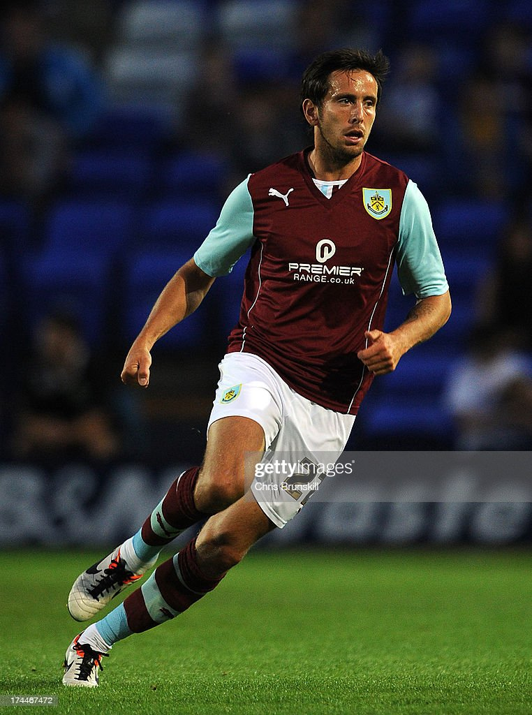 Brian Stock of Burnley in action during the pre season friendly match between Tranmere Rovers and Burnley at Prenton Park on July 23, 2013 in Birkenhead, England.