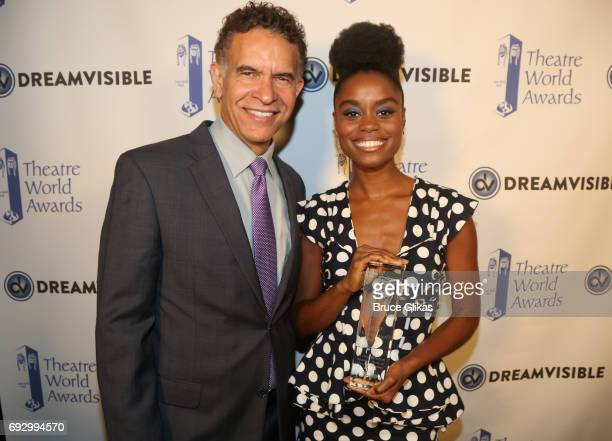 Brian Stokes Mitchell and Winner Denee Benton pose at the 2017 Theatre World Awards at The Imperial Theatre on June 5 2017 in New York City