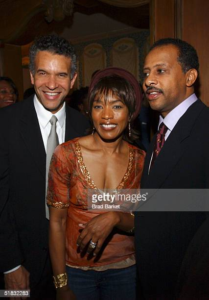 Brian Stokes Mitchell Angela Bassett and Ruben Santiago Hudson arrive at the opening of 'The Gem of the Ocean' after party at Barbetta on December 6...