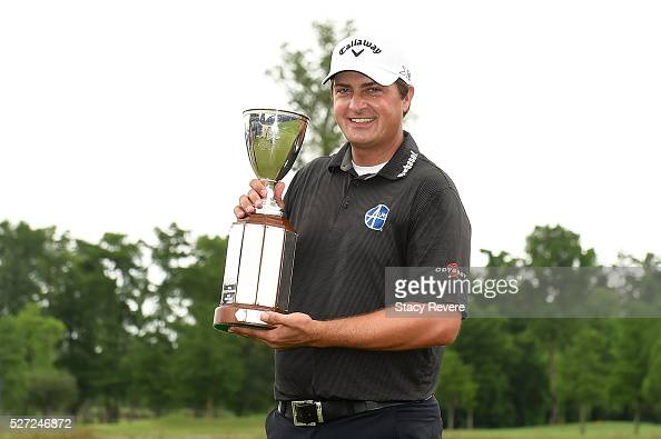 Brian Stuard celebrates with the trophy following a two hole playoff to win the Zurich Classic at TPC Louisiana on May 2 2016 in Avondale Louisiana