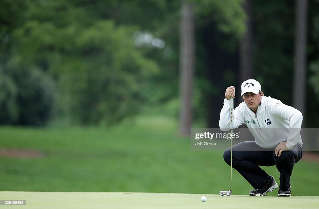 Brian Stuard lines up a putt on the 11th green during the first round of the Wells Fargo Championship at Quail Hollow Club on May 5, 2016 in Charlotte, North Carolina.