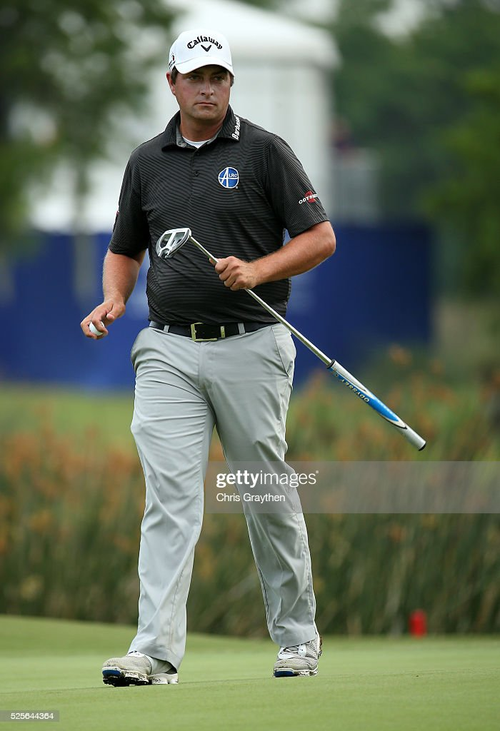 Brian Stuard prepares to putt on the 18th hole during the first round of the Zurich Classic of New Orleans at TPC Louisiana on April 28, 2016 in Avondale, Louisiana.