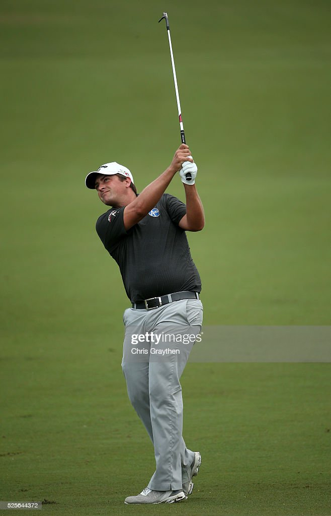 Brian Stuard takes his second shot on the 18th hole during the first round of the Zurich Classic of New Orleans at TPC Louisiana on April 28, 2016 in Avondale, Louisiana.