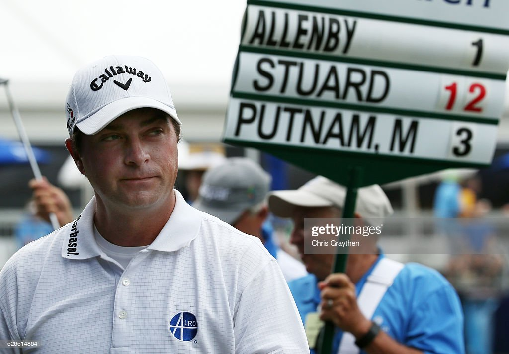 Brian Stuard walks off the 9th green after finishing the continuaiton of the second round of the Zurich Classic of New Orleans at TPC Louisiana on April 30, 2016 in Avondale, Louisiana.
