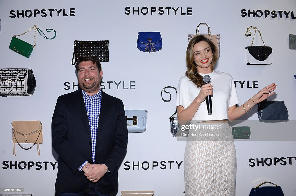 Brian Sugar and <a gi-track='captionPersonalityLinkClicked' href=/galleries/search?phrase=Miranda+Kerr&family=editorial&specificpeople=5714330 ng-click='$event.stopPropagation()'>Miranda Kerr</a> celebrate the launch of We Search. We Find. We ShopStyle on February 3, 2014 in New York City.