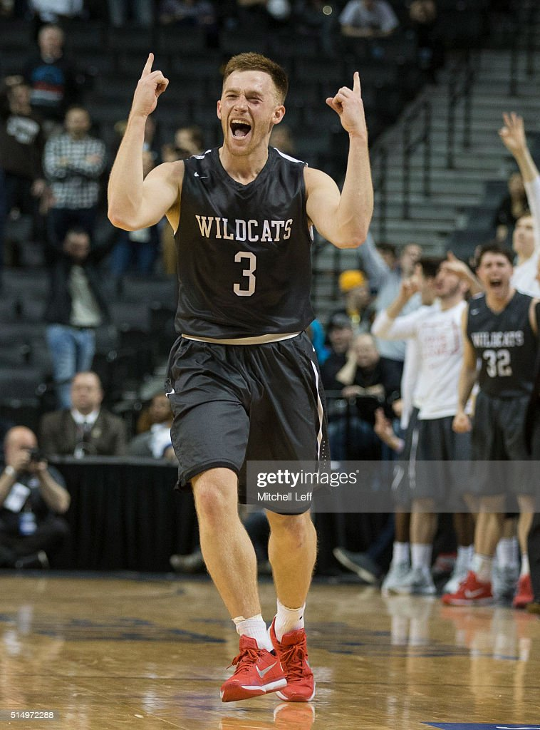 Brian Sullivan of the Davidson Wildcats reacts in the game against the St Bonaventure Bonnies in the quarterfinals round of the men's Atlantic 10...