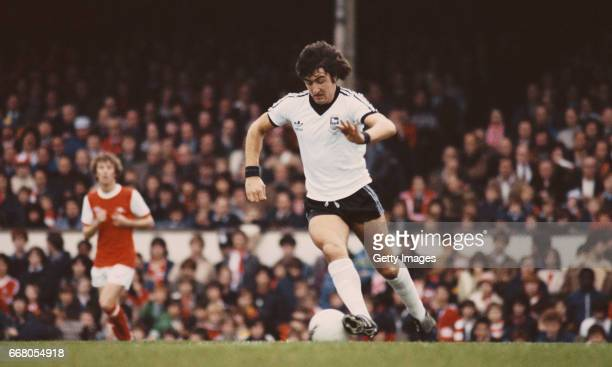 Brian Talbot of Ipswich Town wearing wrist bands with his black and white Adidas away kit in action during a First Divison match against Arsenal at...