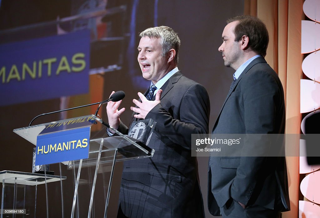Brian Turner (L) and Garrett Frawley accept the award for Children's Live Action for 'Gortimer Gibbon's Life on Normal Street' onstage during the 41st Humanitas Prize Awards Ceremony at Directors Guild Of America on February 11, 2016 in Los Angeles, California.