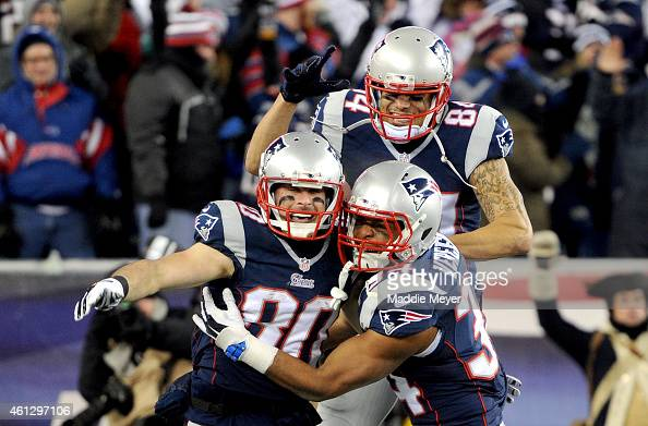 Brian Tyms Shane Vereen and Julian Edelman of the New England Patriots react after Edelman caught a touchdown pass during the second half of the 2015...