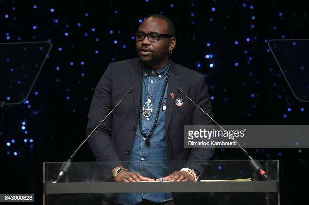 Brian Tyree Henry speaks onstage during 69th Writers Guild Awards New York Ceremony at Edison Ballroom on February 19 2017 in New York City