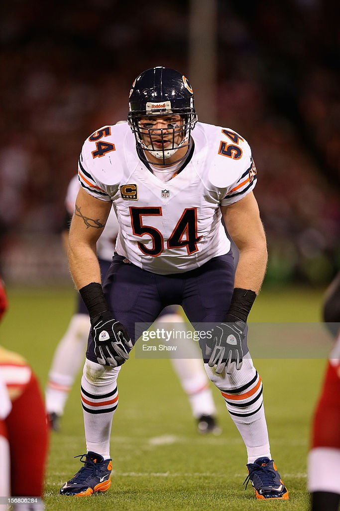 <a gi-track='captionPersonalityLinkClicked' href=/galleries/search?phrase=Brian+Urlacher&family=editorial&specificpeople=202669 ng-click='$event.stopPropagation()'>Brian Urlacher</a> #54 of the Chicago Bears lines up against the San Francisco 49ers at Candlestick Park on November 19, 2012 in San Francisco, California.