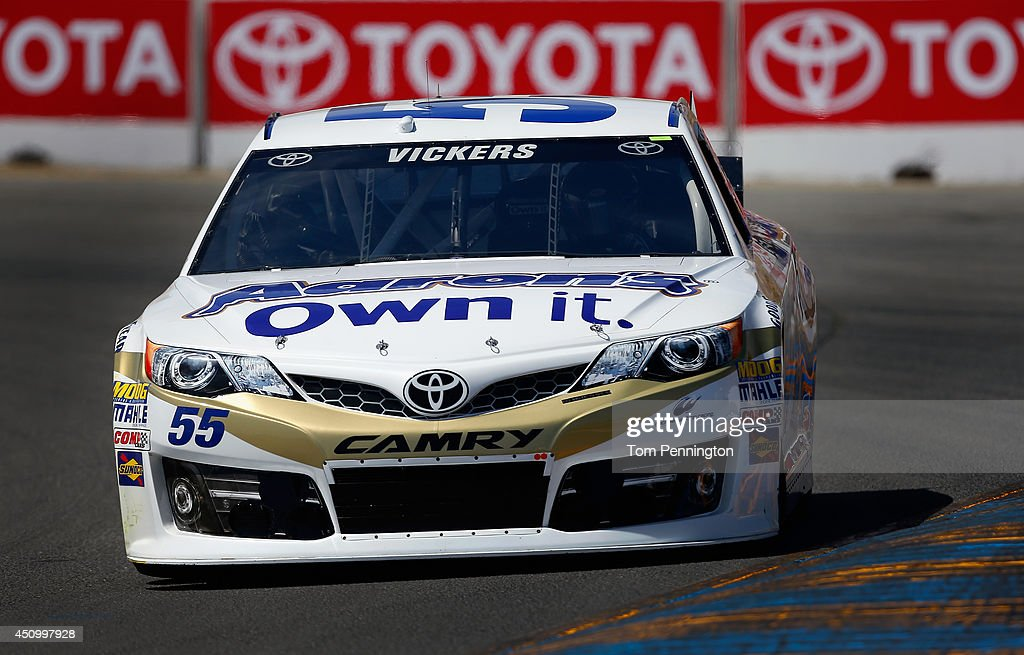 <a gi-track='captionPersonalityLinkClicked' href=/galleries/search?phrase=Brian+Vickers&family=editorial&specificpeople=171225 ng-click='$event.stopPropagation()'>Brian Vickers</a>, driver of the #55 Aaron's Dream Machine Toyota, drives during qualifying for the NASCAR Sprint Cup Series Toyota/Save Mart 350 at Sonoma Raceway on June 21, 2014 in Sonoma, California.