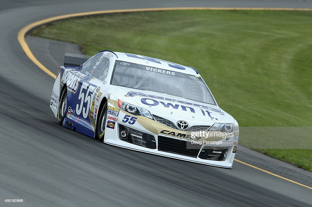 Brian Vickers, driver of the #55 Aaron's Dream Machine Toyota, practices for the NASCAR Sprint Cup Series Pocono 400 at Pocono Raceway on June 6, 2014 in Long Pond, Pennsylvania.