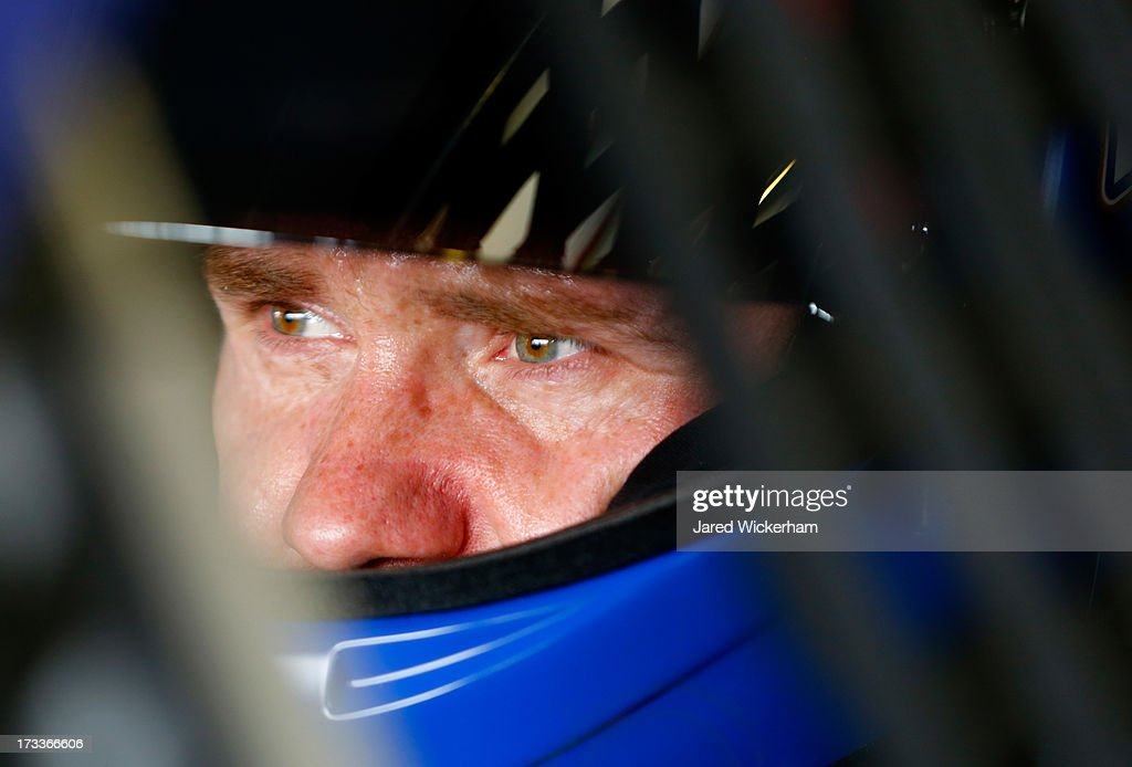 <a gi-track='captionPersonalityLinkClicked' href=/galleries/search?phrase=Brian+Vickers&family=editorial&specificpeople=171225 ng-click='$event.stopPropagation()'>Brian Vickers</a>, driver of the #55 Aaron's Dream Machine Toyota, sits in his car during practice for the NASCAR Sprint Cup Series Camping World RV Sales 301 at New Hampshire Motor Speedway on July 12, 2013 in Loudon, New Hampshire.