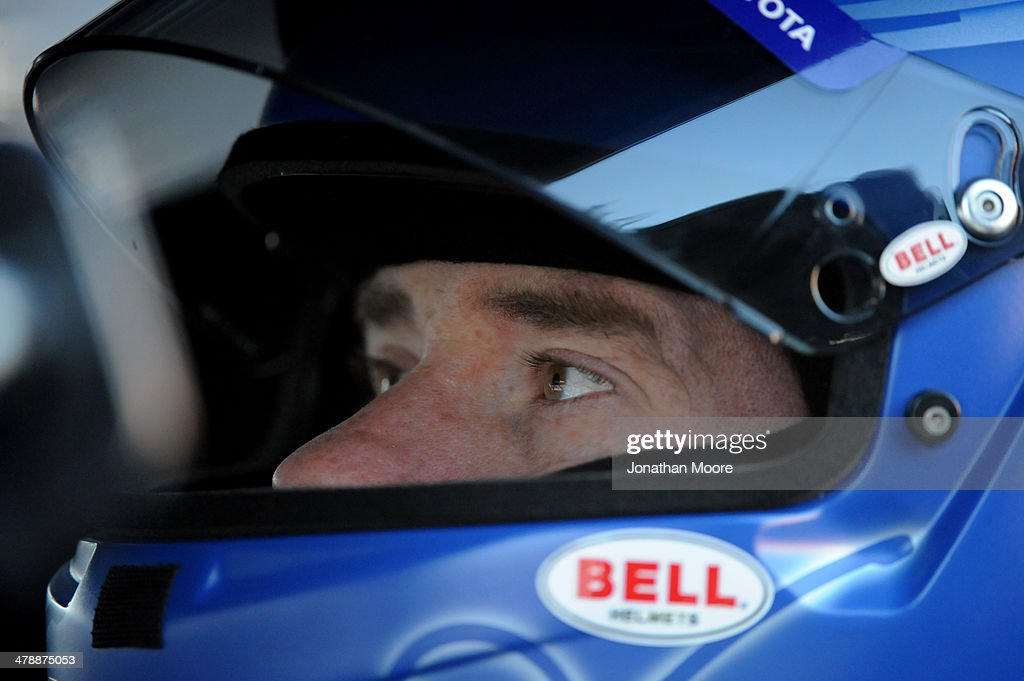 Brian Vickers, driver of the #55 Aaron's Dream Machine Toyota, sits in his car during practice for the NASCAR Sprint Cup Series Food City 500 at Bristol Motor Speedway on March 15, 2014 in Bristol, Tennessee.