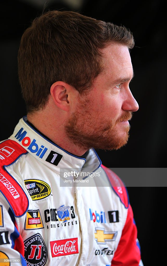 <a gi-track='captionPersonalityLinkClicked' href=/galleries/search?phrase=Brian+Vickers&family=editorial&specificpeople=171225 ng-click='$event.stopPropagation()'>Brian Vickers</a>, driver of the #14 Bass Pro Shops/Mobil 1 Chevrolet, looks on in the garage area during practice for the NASCAR Sprint Cup Series Daytona 500 at Daytona International Speedway on February 13, 2016 in Daytona Beach, Florida.