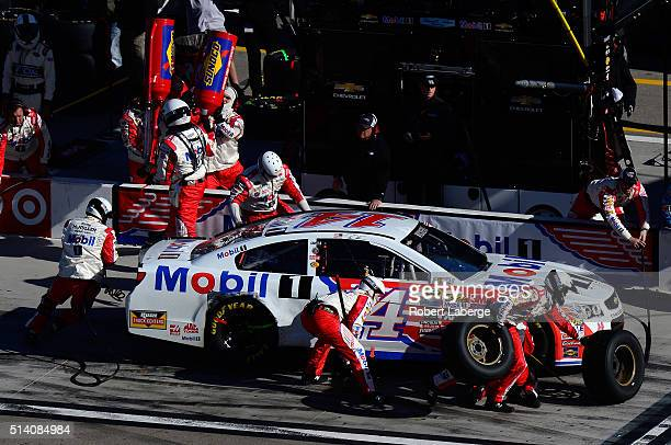 Brian Vickers driver of the Mobil 1 Chevrolet pits during the NASCAR Sprint Cup Series Kobalt 400 at Las Vegas Motor Speedway on March 6 2016 in Las...