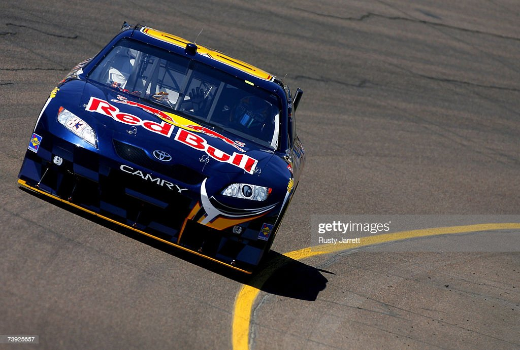 Brian Vickers driver of the Red Bull Toyota drives during practice for the NASCAR Nextel Cup Series Subway Fresh Fit 500 at Phoenix International...