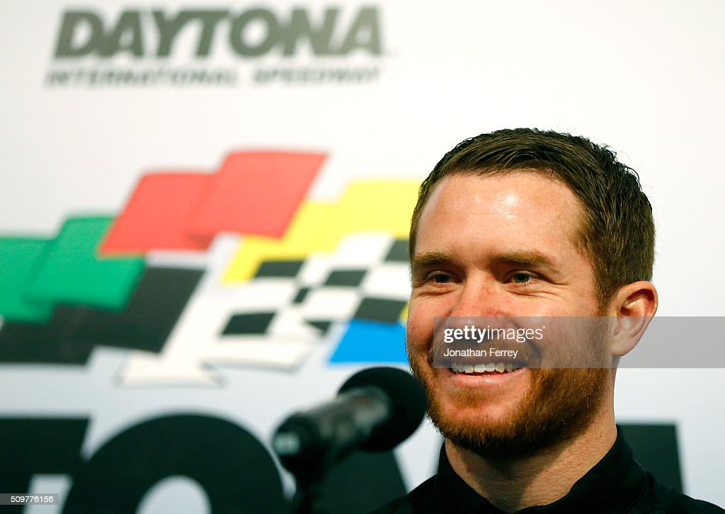 <a gi-track='captionPersonalityLinkClicked' href=/galleries/search?phrase=Brian+Vickers&family=editorial&specificpeople=171225 ng-click='$event.stopPropagation()'>Brian Vickers</a>, driver of the #14 Stewart Haas Racing Bass Pro Shops Chevrolet, smiles at a press conference at Daytona International Speedway on February 12, 2016 in Daytona Beach, Florida. Vickers was announced as the interim replacement driver for Tony Stewart, who injured his back during an off-track incident and will not be racing the Daytona 500.