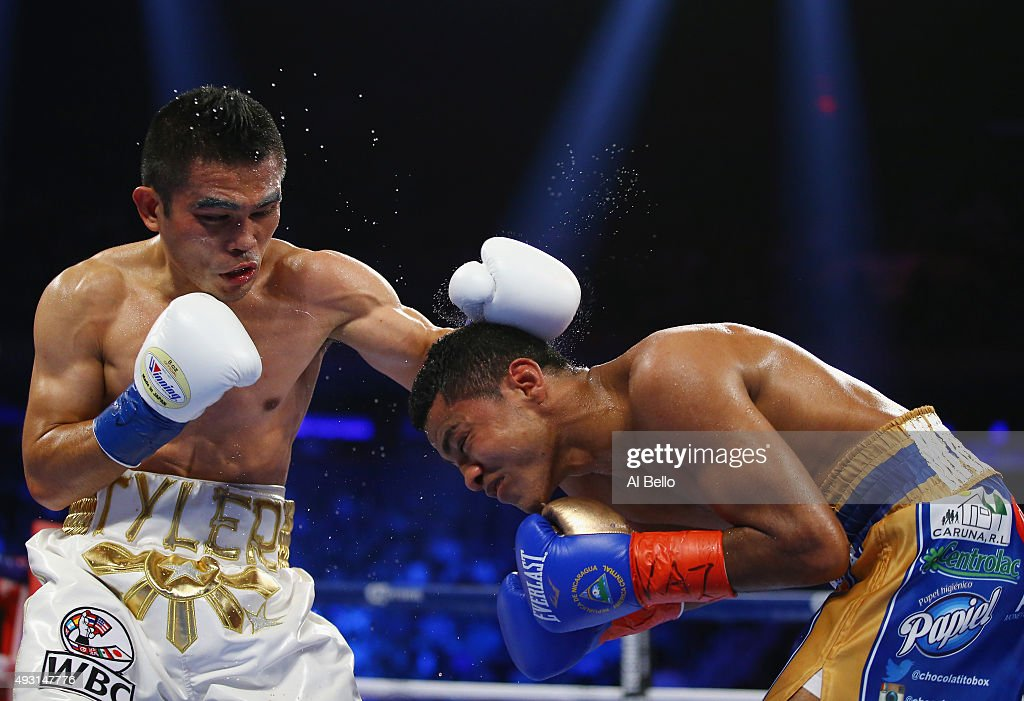<a gi-track='captionPersonalityLinkClicked' href=/galleries/search?phrase=Brian+Viloria&family=editorial&specificpeople=850361 ng-click='$event.stopPropagation()'>Brian Viloria</a> punches Roman Gonzalez during their WBC Flyweight Title fight at Madison Square Garden on October 17, 2015 in New York City.