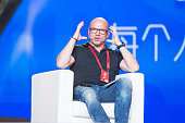 Brian Wallace CMO of Magic Leap and Dong Benhong CMO of Alibaba Group speaks during the Taobao Maker Festival at Shanghai World Expo Exhibition...