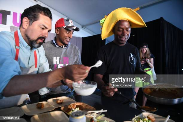 Brian Washington Palmer Sexy Taco and Daniel Sharp perform onstage at Harlem EatUp's Third Annual Festival Weekend on May 21 2017 in New York City