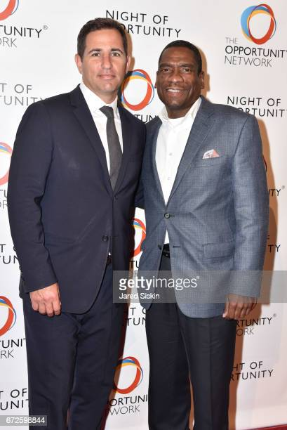 Brian Weinstein and Thabiti Boone attend The Opportunity Network's 10th Annual Night of Opportunity Gala at Cipriani Wall Street on April 24 2017 in...