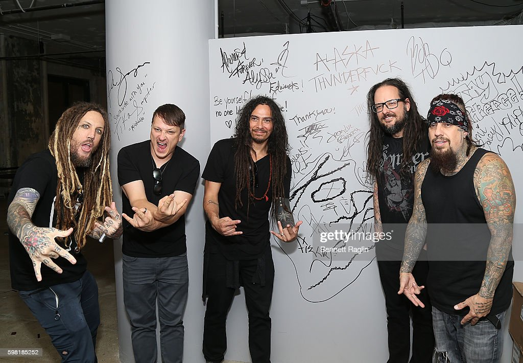 Brian Welch, Ray Luzier, James Murky Shaffer, Jonathan Davis and Reggie Arvizu attend the BUILD Series presents Korn discusses 'The Serenity of Suffering' at AOL HQ on August 31, 2016 in New York City.