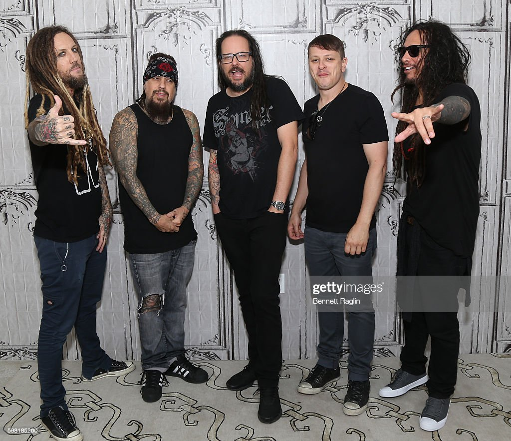 Brian Welch, Reggie Arvizu, Jonathan Davis, Ray Luzier, and James Murky Shaffer attend the BUILD Series presents Korn discusses 'The Serenity of Suffering' at AOL HQ on August 31, 2016 in New York City.