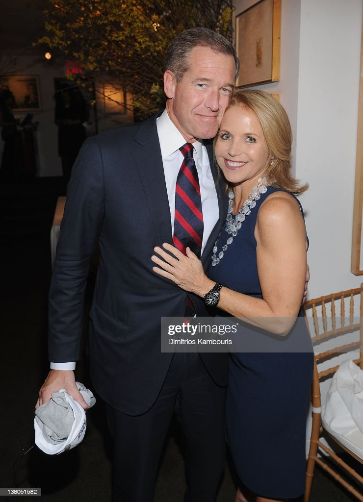 Brian Williams and <a gi-track='captionPersonalityLinkClicked' href=/galleries/search?phrase=Katie+Couric&family=editorial&specificpeople=202633 ng-click='$event.stopPropagation()'>Katie Couric</a> attend the New York Giants Super Bowl Pep Rally Luncheon at Michael's on February 1, 2012 in New York City.