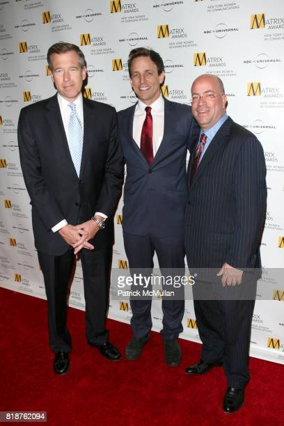 Brian Williams Seth Meyers and Jeff Zucker attend New York WOMEN IN COMMUNICATIONS Presents The 2010 MATRIX AWARDS at Waldorf Astoria on April 19...