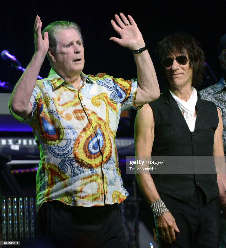 Brian Wilson (L) and <a gi-track='captionPersonalityLinkClicked' href=/galleries/search?phrase=Jeff+Beck&family=editorial&specificpeople=213341 ng-click='$event.stopPropagation()'>Jeff Beck</a> perform at the Bayou Music Center on October 1, 2013 in Houston, Texas.