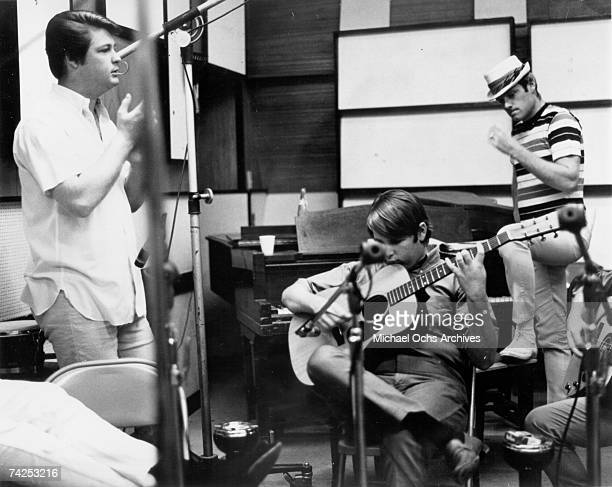 Brian Wilson Carl Wilson and Mike Love of the rock and roll band 'The Beach Boys' record at Western Recorders studios in 1965