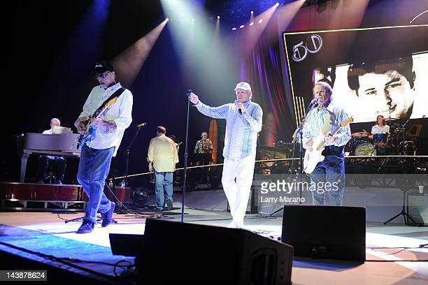 Brian Wilson David Marks Mike Love and Al Jardine of the Beach Boys perform on the The Beach Boys 50th Anniversary Tour at Hard Rock Live in the...