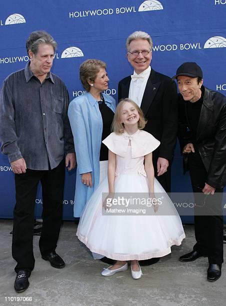 Brian Wilson Deborah Borda President Los Angeles Philharmonic Association John Mauceri conductor and Robin Gibb surround young actress Dakota Fanning