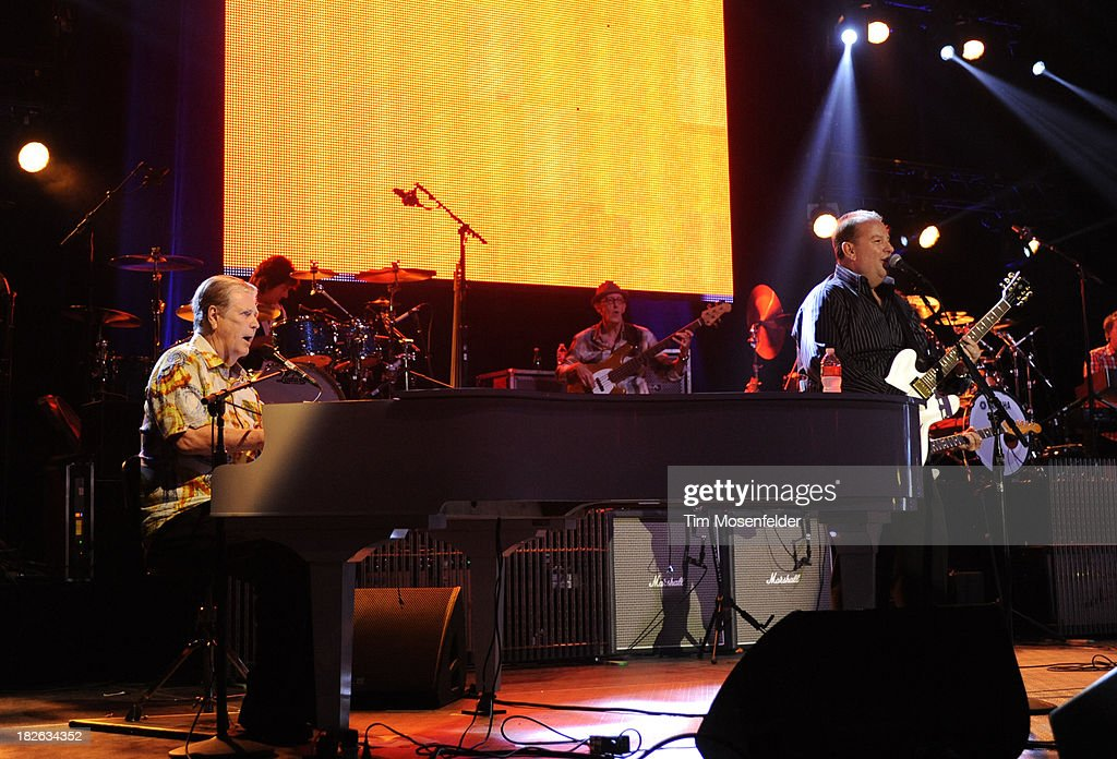 Brian Wilson (L) of Brian Wilson and Jeff Beck performs at the Bayou Music Center on October 1, 2013 in Houston, Texas.