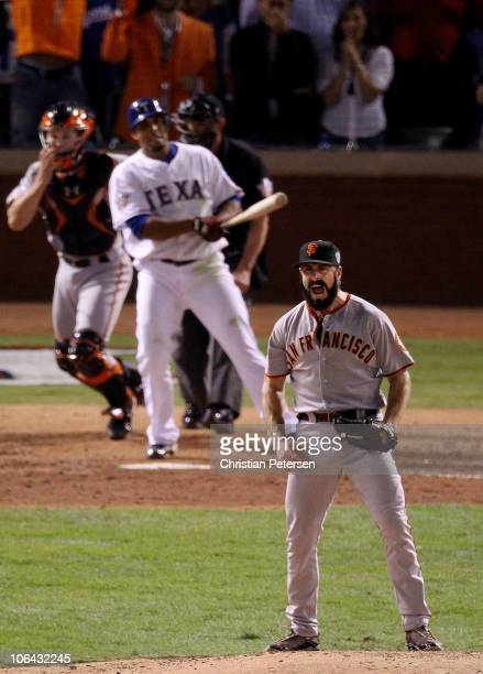 Brian Wilson of the San Francisco Giants celebrates striking out Nelson Cruz of the Texas Rangers to win the 2010 MLB World Series 31 at Rangers...