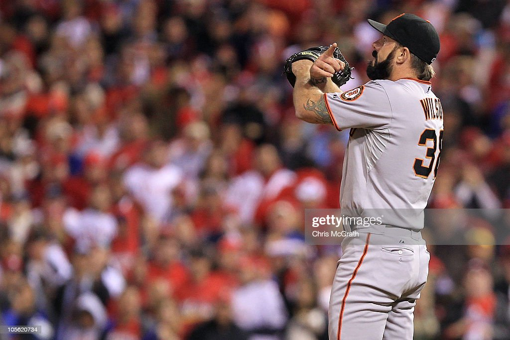 Brian Wilson #38 of the San Francisco Giants reacts after striking out Shane Victorino #8 of the Philadelphia Phillies to defeat the Phillies 4-3 in Game One of the NLCS during the 2010 MLB Playoffs at Citizens Bank Park on October 16, 2010 in Philadelphia, Pennsylvania.