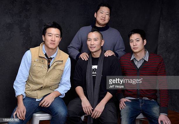 Brian Yang Christopher Chen director Evan Jackson Leong and producer Allen Lu pose for a portrait during the 2013 Sundance Film Festival at the...