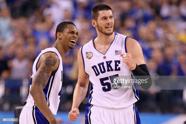 Brian Zoubek and Lance Thomas of the Duke Blue Devils react to a play in the first half against the West Virginia Mountaineers during the National...