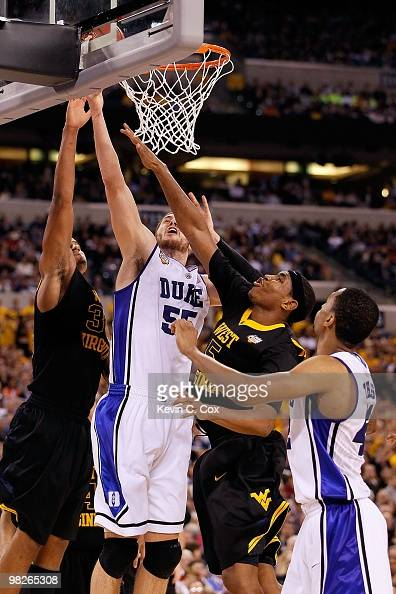 Brian Zoubek of the Duke Blue Devils shoots the ball while taking on the West Virginia Mountaineers during the National Semifinal game of the 2010...