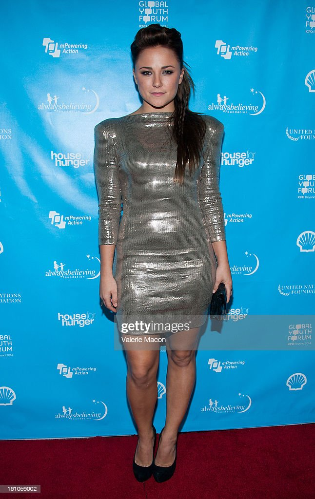 Briana Evigan arrives at the mPowering ActionPre-GRAMMY Launch Event at The Conga Room at L.A. Live on February 8, 2013 in Los Angeles, California.