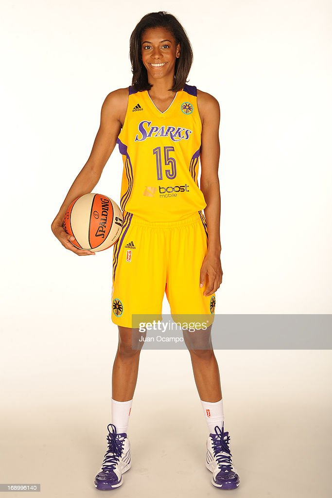Briana Gilbreath #15 of the Los Angeles Sparks poses for a photo during the Los Angeles Sparks Media Day on May 17, 2013 at St. Mary's School in Inglewood, California.