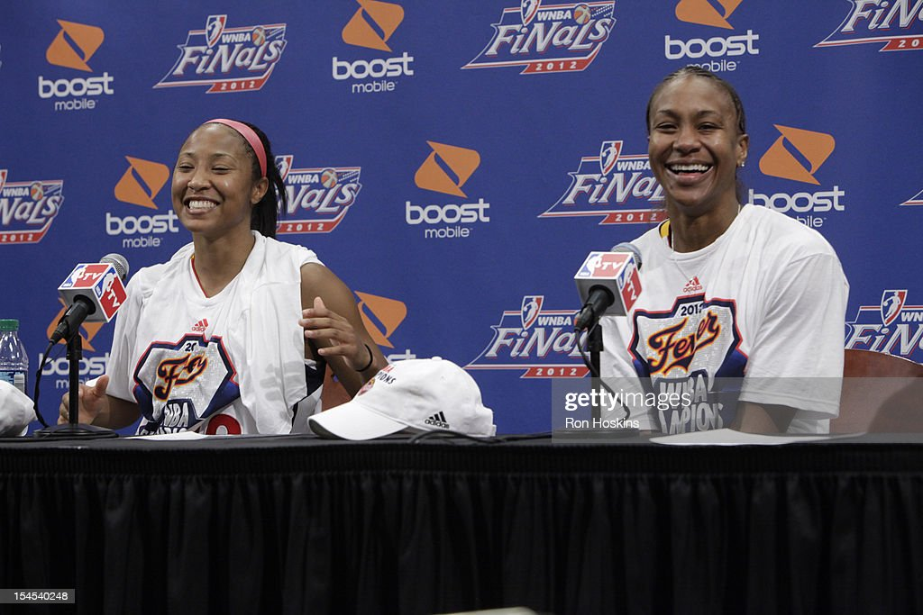 Briann January #20 and Tamika Catchings #24 of the Indiana Fever speaks to the media after Game four of the 2012 WNBA Finals on October 21, 2012 at Bankers Life Fieldhouse in Indianapolis, Indiana.