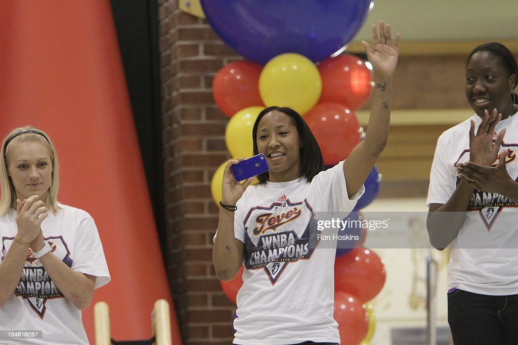 Briann January as she is introduced during the Indiana Fever's WNBA Championship celebration on October 23, 2012 at Bankers Life Fieldhouse in Indianapolis, Indiana.