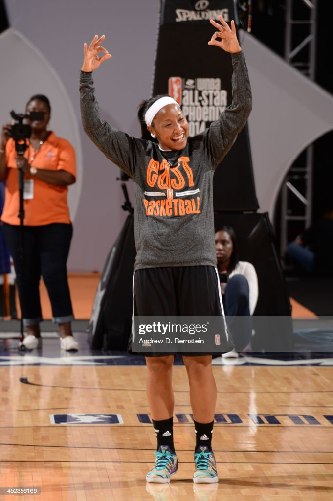 Briann January #20 of the Eastern Conference All-Stars gestures during All-Star Practice and Media Availability on July 18, 2014 at US Airways Center in Phoenix, Arizona.