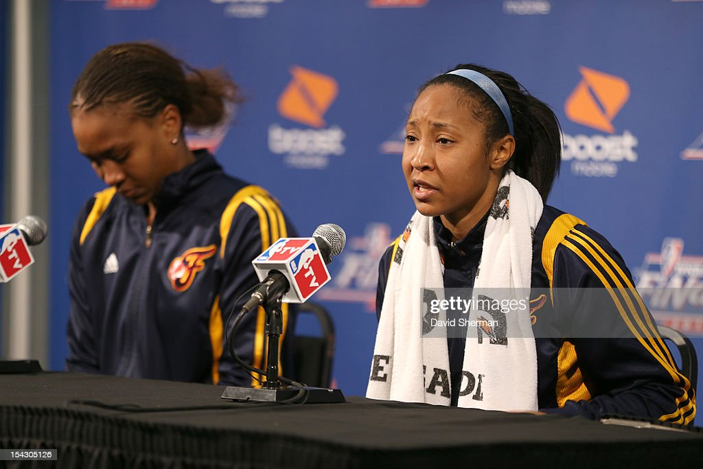 Briann January #20 of the Indiana Fever answers questions from the press after the 2012 WNBA Finals Game Two 71-83 loss to the Minnesota Lynx on October 17, 2012 at Target Center in Minneapolis, Minnesota.