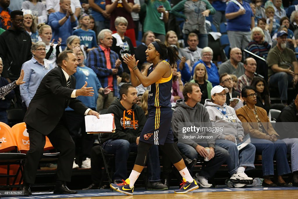 <a gi-track='captionPersonalityLinkClicked' href=/galleries/search?phrase=Briann+January&family=editorial&specificpeople=4530291 ng-click='$event.stopPropagation()'>Briann January</a> #20 of the Indiana Fever celebrates during Game 1 of the 2015 WNBA Finals against the Minnesota Lynx on October 4, 2015 at Target Center in Minneapolis, Minnesota.