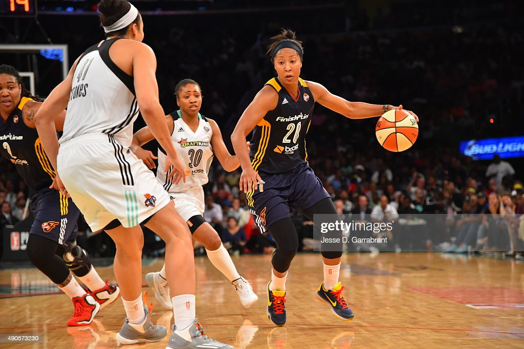 <a gi-track='captionPersonalityLinkClicked' href=/galleries/search?phrase=Briann+January&family=editorial&specificpeople=4530291 ng-click='$event.stopPropagation()'>Briann January</a> #20 of the Indiana Fever dribbles the ball against the New York Liberty during game Three of the WNBA Eastern Conference Finals at Madison Square Garden on September 29, 2015 in New York, New York