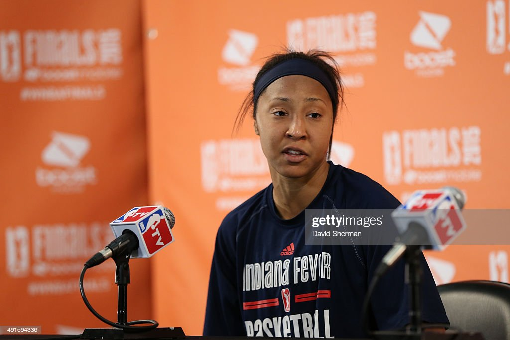 <a gi-track='captionPersonalityLinkClicked' href=/galleries/search?phrase=Briann+January&family=editorial&specificpeople=4530291 ng-click='$event.stopPropagation()'>Briann January</a> #20 of the Indiana Fever is interviewed after Game Two of the 2015 WNBA Finals against the Minnesota Lynx on October 6, 2015 at Target Center in Minneapolis, Minnesota.